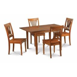 East West Furniture MLPL5-SBR-W Milan 5PC Set with Rectangular Table featured 12 in butterfly leaf and 4 Wood seat chairs