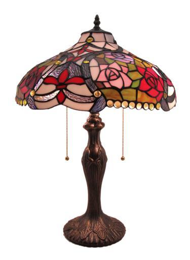 Fabulous English Roses Stained Glass Dual Bulb Table Lamp