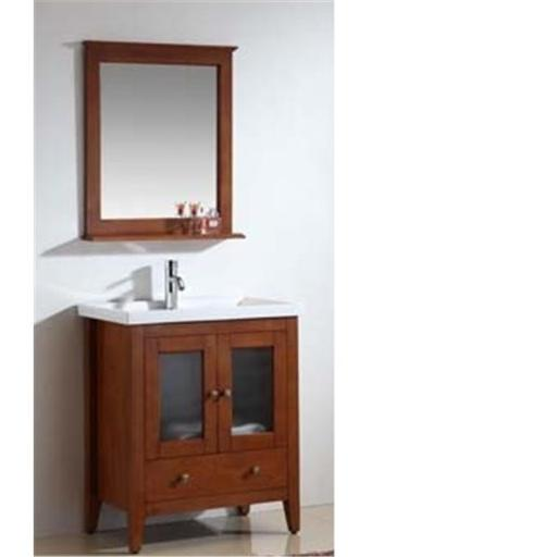 Dawn Kitchen RAM240429-04 Solid Wood And Plywood Frame Teak Finish Mirror With Shelf