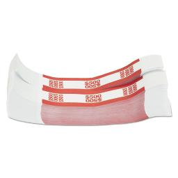 Currency Straps Red $500 In $5 Bills 1000 Bands Per Pack   1 Pack of: 1000