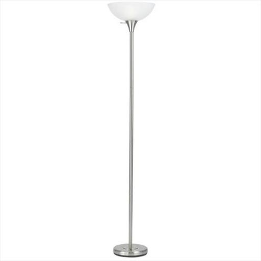 150 W 3 Way Metal Torchiere Floor Lamp With Glass Shade