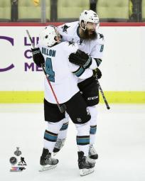 Brent Burns & Brenden Dillon Goal Celebration Game 5 of the 2016 Stanley Cup Finals Photo Print PFSAATC04001