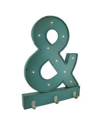 Metal LED Blue Ampersand Wall Hanging w/Hooks