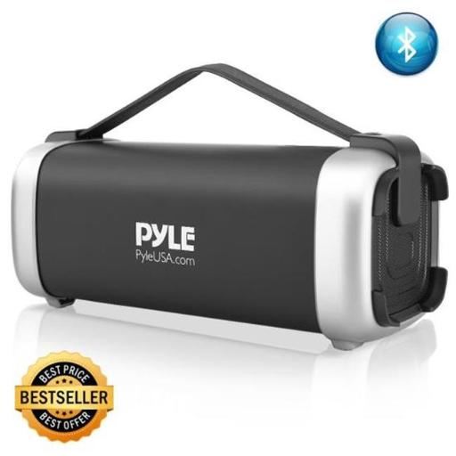 Pyle PBMSQG12 Compact & Portable Bluetooth Wireless Speaker with Built-in Rechargeable Battery, MP3USBMicro SD Readers, FM Radio