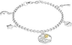 """Sterling Silver Diamond Accent""""Believe"""" with Shooting Stars and Moon Charm Bracelet (1/10cttw, I-J Color, I2-I3 Clarity)"""