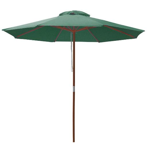 9ft Wooden Outdoor Patio Green Umbrella W/ Pulley Market Garden Yard Beach Deck Cafe Decor Sunshade