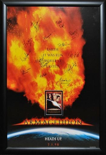Armageddon - Signed Movie Poster in Wood Frame with COA