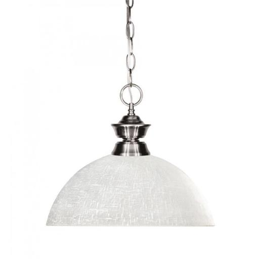 Zlite 100701BN-DWL14 Shark 1 Light Pendant in Brushed Nickel with Dome White Linen Shade