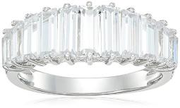 Rhodium Plated Sterling Silver Square White Cubic Zirconia 7x3mm Ring, Size 6