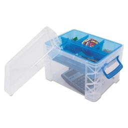 advantus-37375-7-5-x-10-12-x-6-5-in-super-stacker-divided-storage-box-clear-with-blue-tray-handles-d1inicybdhu3izcp