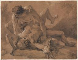 Two Nude Male Figures Struggling Together Poster Print by Nicolas de Largillierre (18 x 24) MET337539