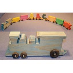 THE PUZZLE-MAN TOYS W-1600 Wooden Toy - Train With Name - Engine