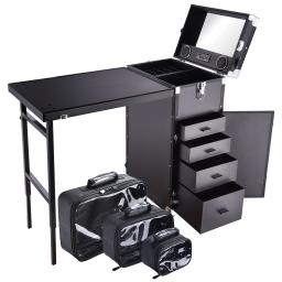Byootique Nail Art Train Case Workstation Trolley Desk with 3 Pack Toiletry Bags