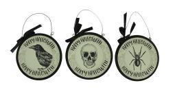 3 Piece Set of Vintage Gothic Happy Halloween Wall Hangings 9.5 inch