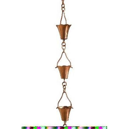 Patina Products R277H Copper Fluted Cup Rain Chain - Half Length