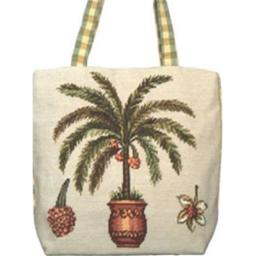 123 Creations C216HB Palm Tree needlepoint tote bag