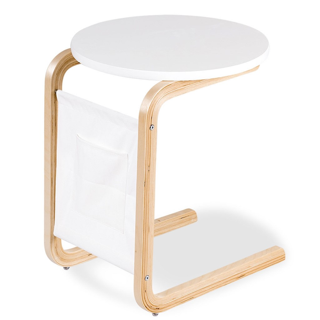 Bentwood Accent Coffee Table Round Tabletop with Storage Bag