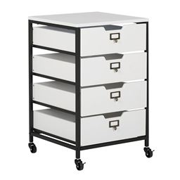 Studio Designs Sew Ready 4-Drawer Mobile Organizer in Charcoal/White