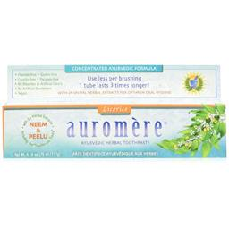 Ayurvedic Herbal Toothpaste Licorice by Auromere - Fluoride-Free, Natural, with Neem and Vegan - 4.16 oz (4 Pack)