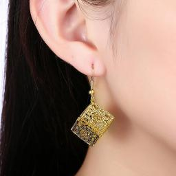 Jerez de la Frontera Cube Bohemian Drop Earring in 18K Gold Plated