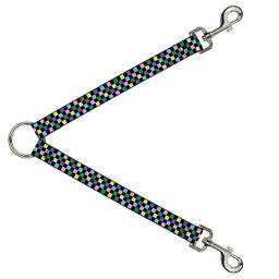 "Buckle Down DLS-W30328-W Checker Black/Multi Pastel Leash Splitter, 1.5"" Wide - 30"" Length"
