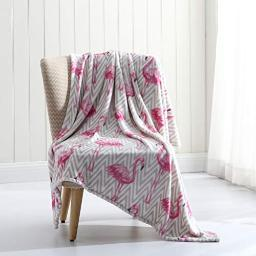 Morgan Home Fashions Luxury Bright Throw Blanket 2 Sizes- Soft, Lightweight, Cozy and Warm for Use All Year Round and Any Season (Flamingo, 50x60)