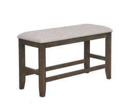 Dual Tone Counter Height Bench with Fabric Upholstered Seat, Brown and Gray