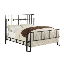 Queen Bed with Thin Metal Spindle Headboard And Footboard, Black
