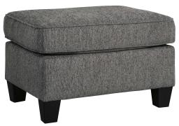 Square Wooden Ottoman with Textured Upholstery and Tapered Legs, Gray