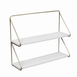 Contemporary Wood and Metal Ornate 2 Tier Wall Shelf, White and Gold