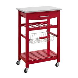 Contemporary Kitchen Island with Stainless Steel Top and Casters, Red