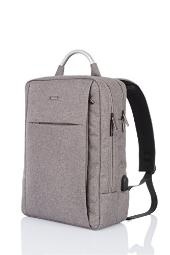 Water Resistant Business Backpack,GTI Anti-Theft Canvas Daypack Fits up to 15.6 Inch Laptop School Bag with USB Charge Port for Travel-Gray