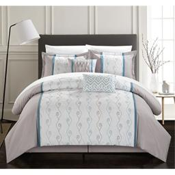 Chic Home Priston 6 Piece Comforter Set Color Block Embroidered Bedding - Bed Skirt Decorative Pillows Shams Included King Grey