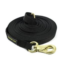Dean & Tyler Track Single Ply Black Nylon 90-Feet by 3/4-Inch Dog Leash with a Ring on Handle and Massive Brass Snap Hook