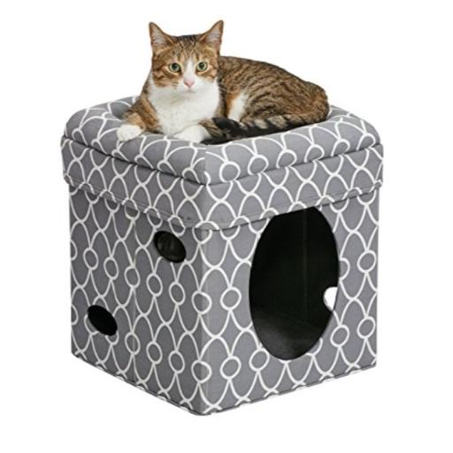MidWest Homes for Pets Cat Cube | Cozy Cat House/Cat Condo in FashionMle Gray Geo Print | 15.5L x 15.5W x 16.5H Inches
