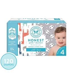 The Honest Company Super Club Box Diapers - Size 4 - Pandas & Safari Print | TrueAbsorb Technology | Plant-Derived Materials | Hypoallergenic | 120 Count