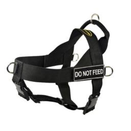 DT Universal No Pull Dog Harness, Do Not Feed, Black, X-Small, Fits Girth Size: 21-Inch to 25-Inch