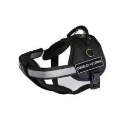 Dean & Tyler 28-Inch to 38-Inch Pet Harness with Padded Reflective Chest Straps, Medium, Disabled Veteran, Black