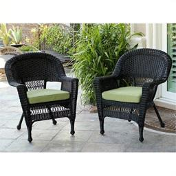 Jeco Wicker Chair with Green Cushion, Set of 2, Black/W00207-
