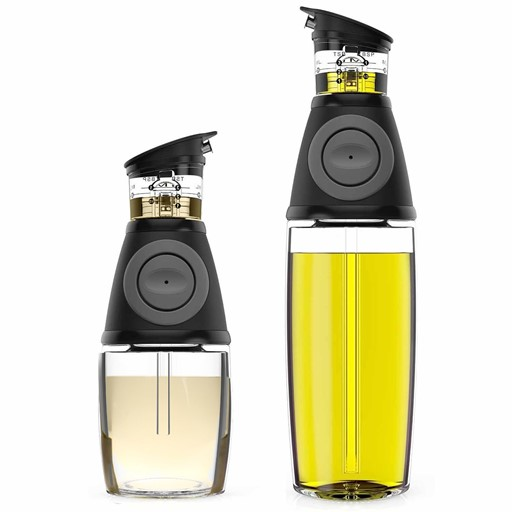 Oil and Vinegar Dispenser Set with Drip-Free Spouts - Olive Oil Dispenser Bottle for Kitchen - 2 Pack Includes 500ml [17oz] and 250ml [9oz] Sized.