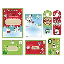 Letter to Santa Kit - for Christmas Write A Letter to Dear Santa Claus - with Envelopes, Stickers and Door Hang (1 kit)