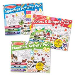 Melissa & Doug Sticker and Coloring Activity Pad 3-Pack – Alphabet, Numbers, Colors and Shapes