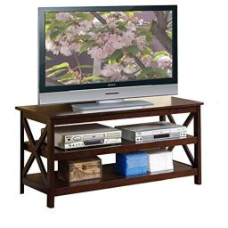 Benzara BM166698 Wooden TV Stand with 2 Shelves, Brown