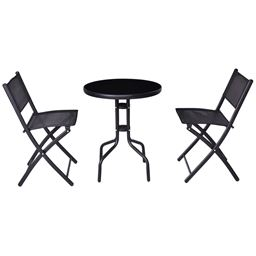 3 pcs Outdoor Folding Bistro Table Chairs Set
