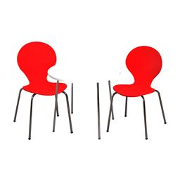 Gift Mark Modern Childrens Table and 2 Chair Set with Chrome Legs (Red Color Chairs)