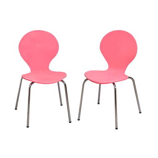 Gift Mark Modern Childrens 2 Chair Set with Chrome Legs - Pink Color The Gift mark Modern Childrens Two Chair set, is detailed with beautiful Chrome Legs. Our sculptured Chairs, add a bit of Color and Whimsy. The beautiful hand crafted Chair set is the Ideal place for, Learning, Playing, or Learning. Makes the Perfect Gift, for Nursery, Play room, or Den.  All tools included for Easy Assembly.