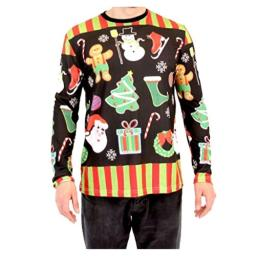 Costume Agent Holiday Symbols All Over Black Long Sleeve Ugly Christmas T-Shirt (Small)