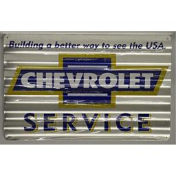 """Chevrolet Service corrugated Metal Sign distressed aged look 12 x 18"""" building a better way to see the USA chevy bowtie logo"""