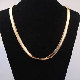 Yellow Gold Filled Flat Solid Snake Bone Necklace 18inch