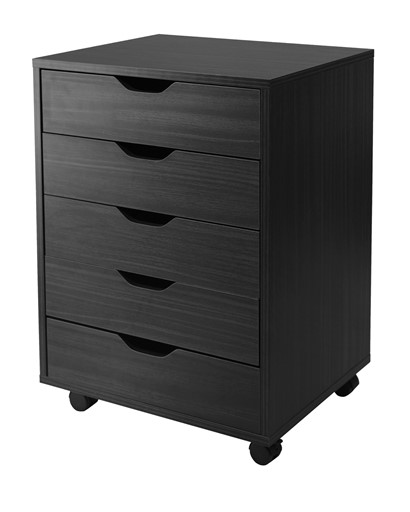 Winsome Solid Wood Halifax Cabinet for Closet / Office with 5 Drawers, Black